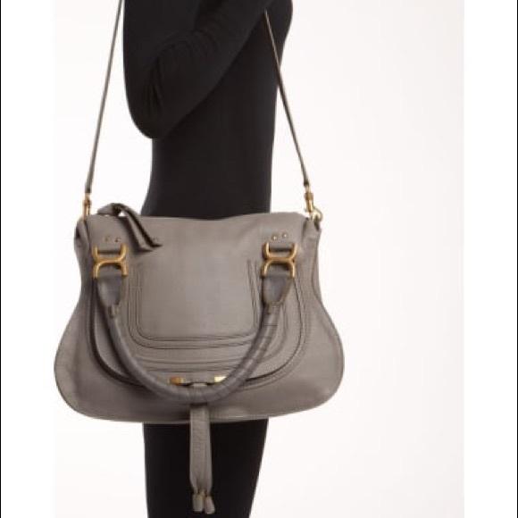 964c4312 Chloe Marcie Medium Gray Satchel Leather Bag